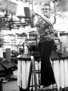 Halina Szczawinsky at Kingston Knitting Mills in the 1960s