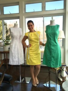 Elena Valencia Alzate at her home sewing studio, 2019