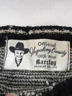 Hoppalong Cassidy sweater made at Kingston's Baclay's Knitwear, 1950s